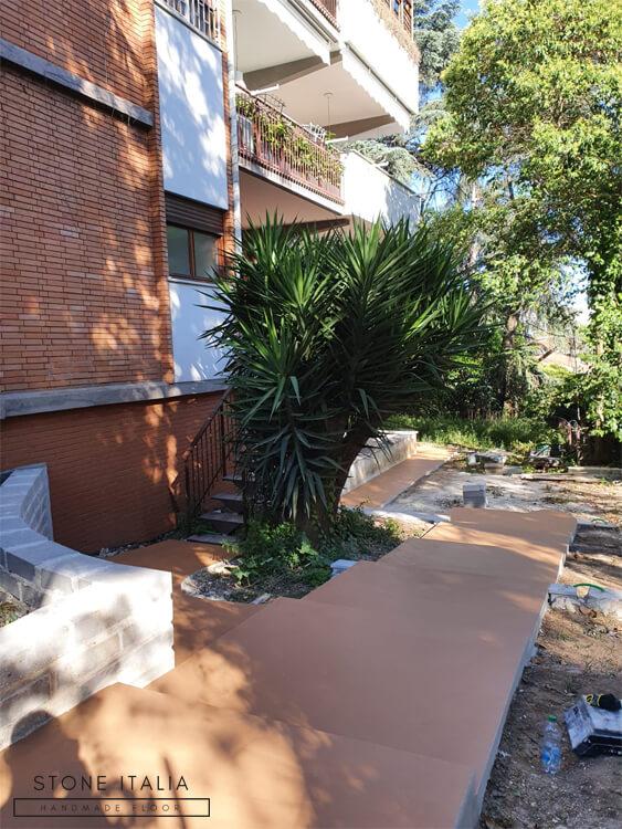 Pavimento in microcemento da esterno